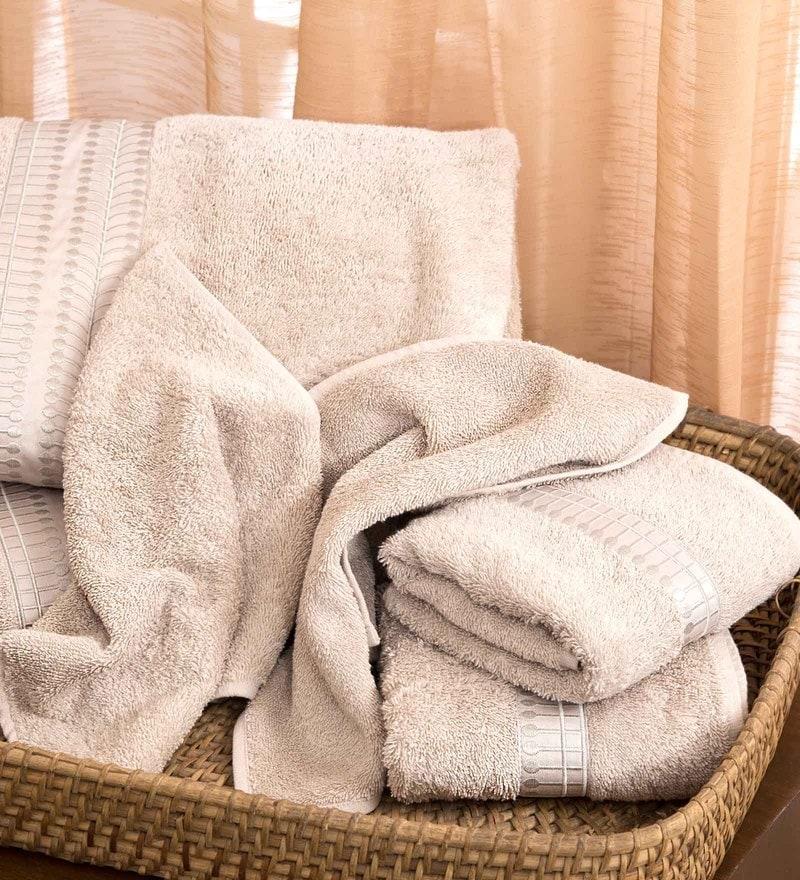 Grey 100% Cotton Bath Towel by Maspar