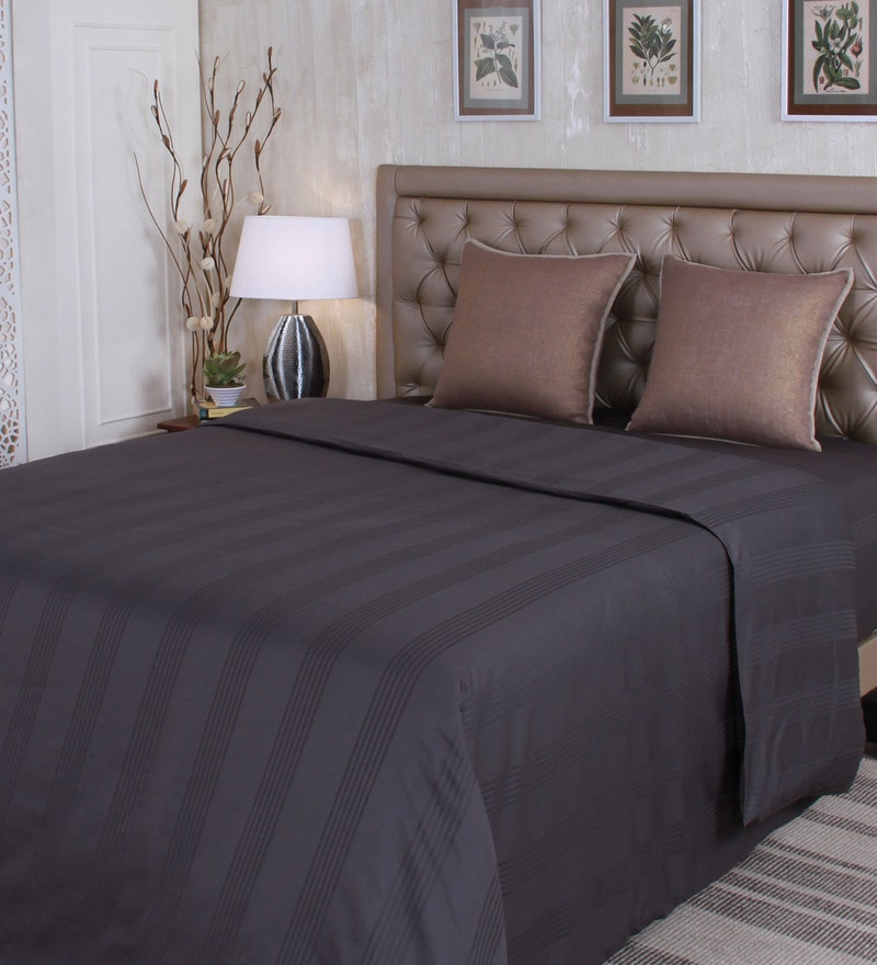 Grey 100% Cotton Queen Size Duvet Cover by Mark Home