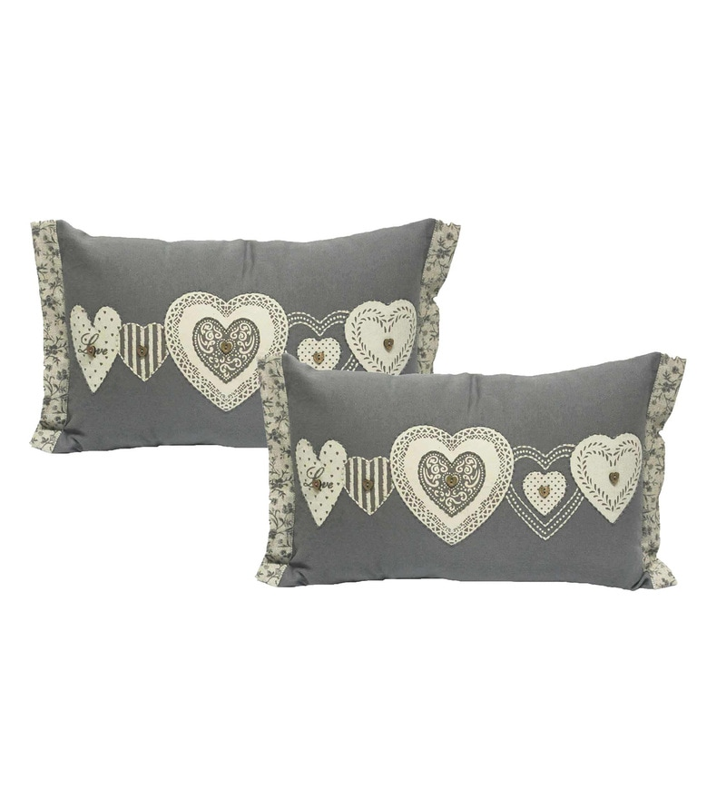 Grey Cotton 18 x 18 Inch Cushion Covers - Set of 2 by R Home