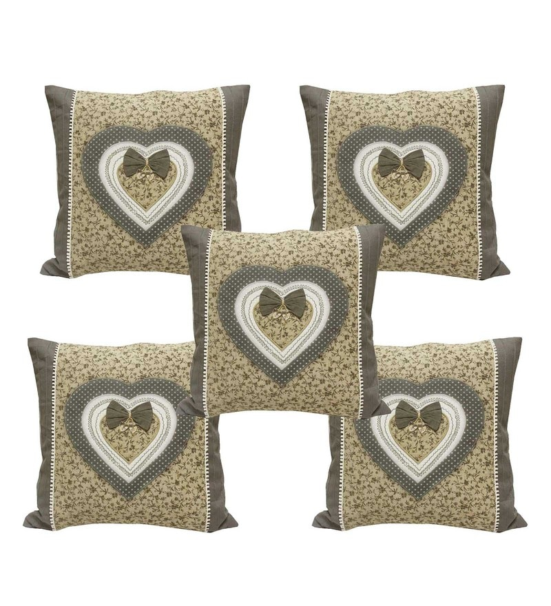 Grey Cotton 18 x 18 Inch Cushion Covers - Set of 5 by R Home