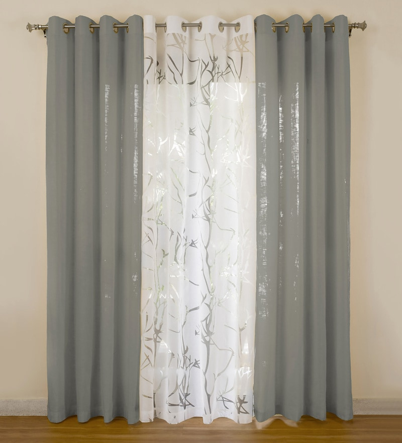 Grey Cotton 55x84 Inch Door Curtains - Set of 3 by Rosara