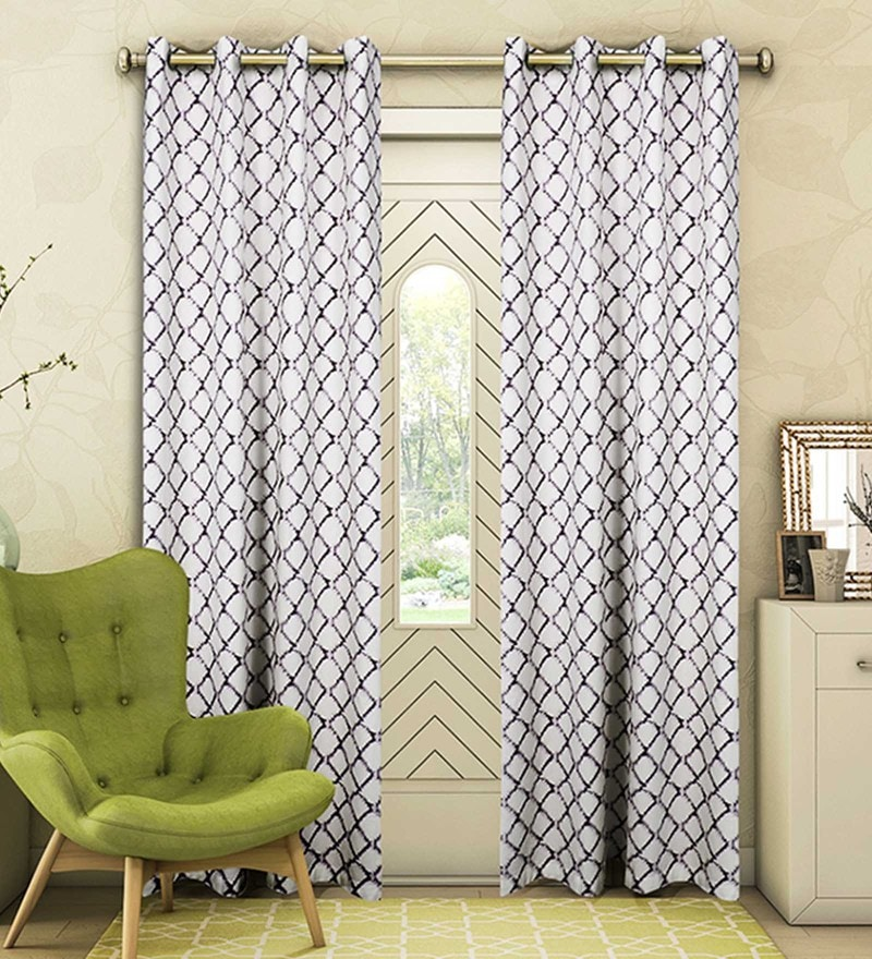 Grey Cotton 88 x 53 Inch Check Door Curtain - Set of 2 by Vista Home Fashion