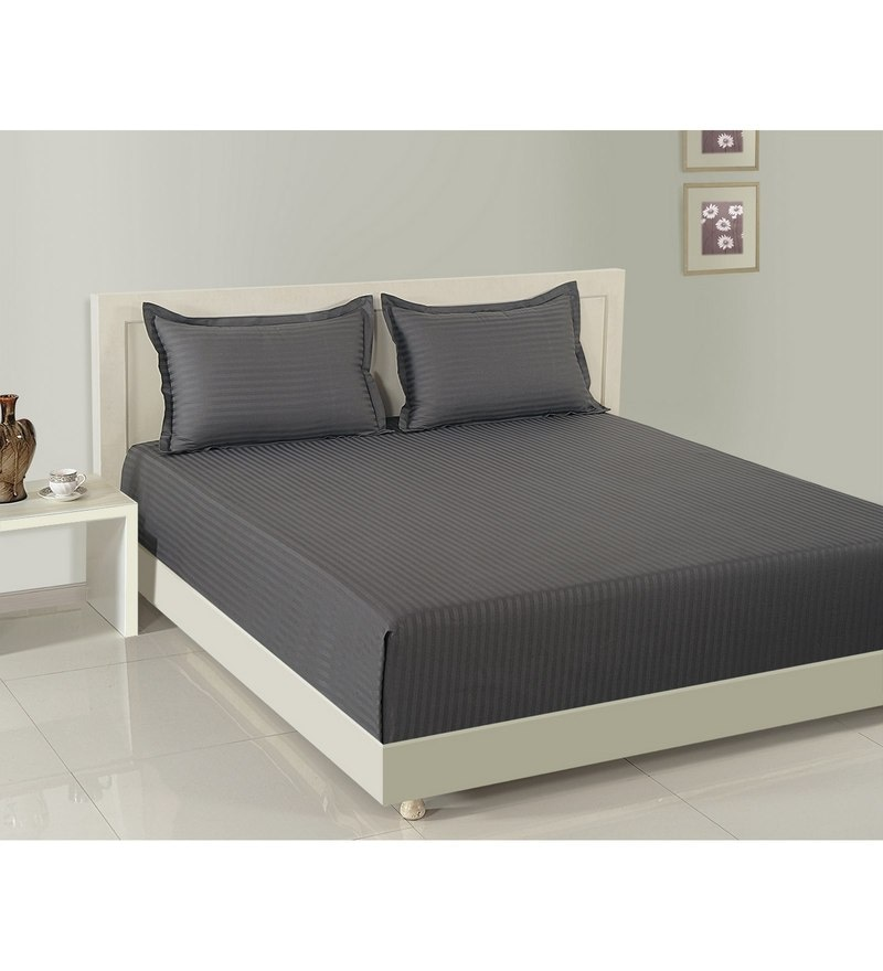 Grey Cotton Fitted Bedsheet - Set of 3 by Swayam