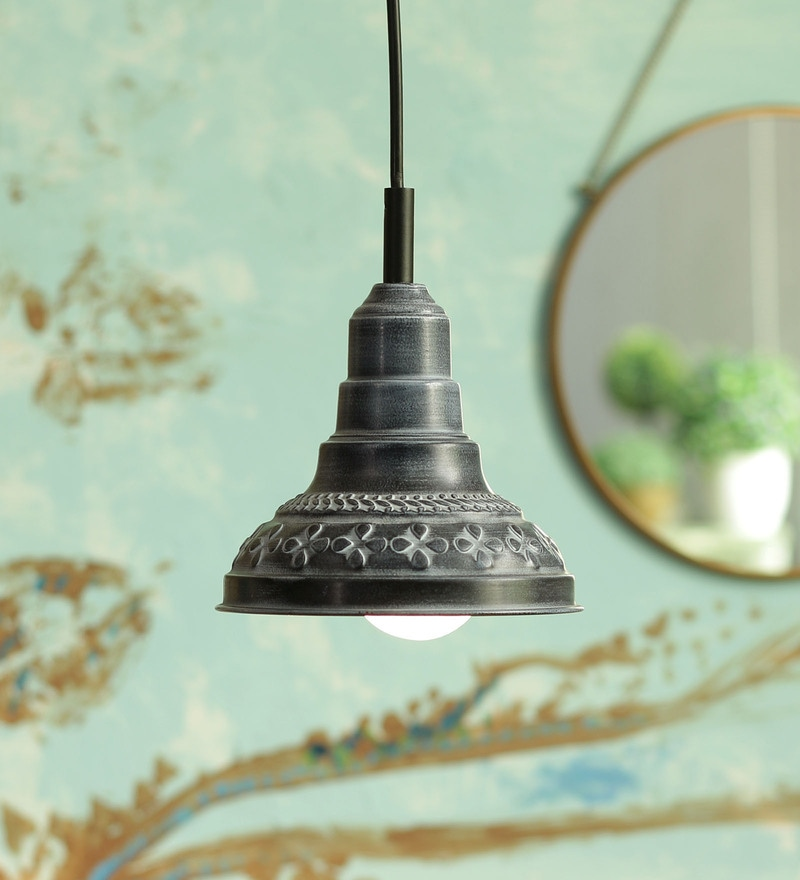 Grey Metal Pendant Lamp by Height Of Designs