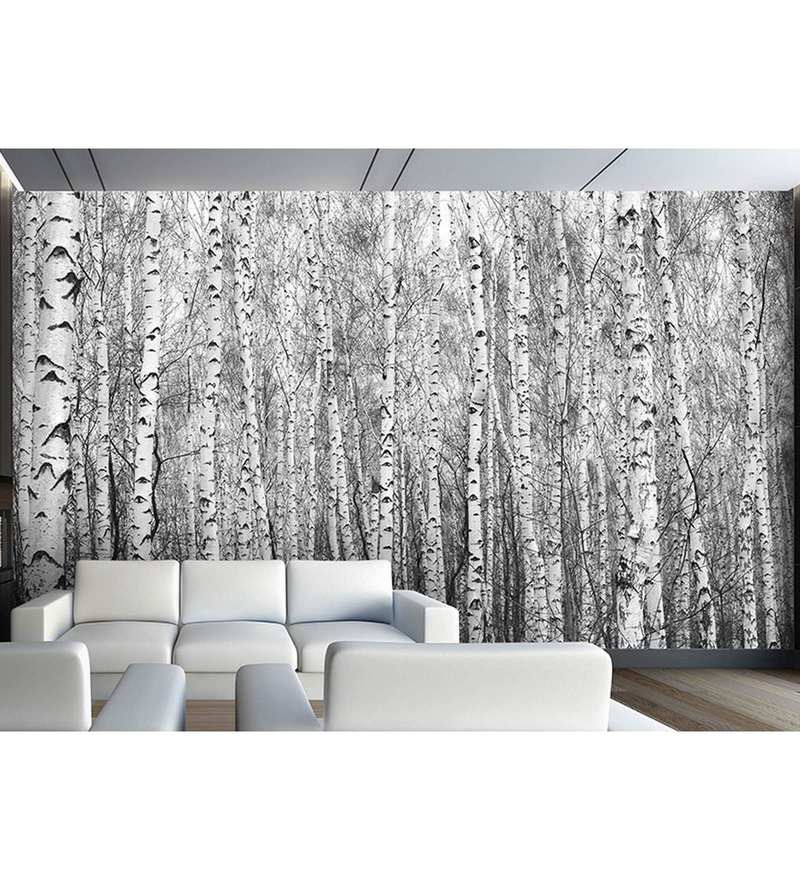 Grey Non Woven Paper The White Tree Forest Wallpaper by Wallskin