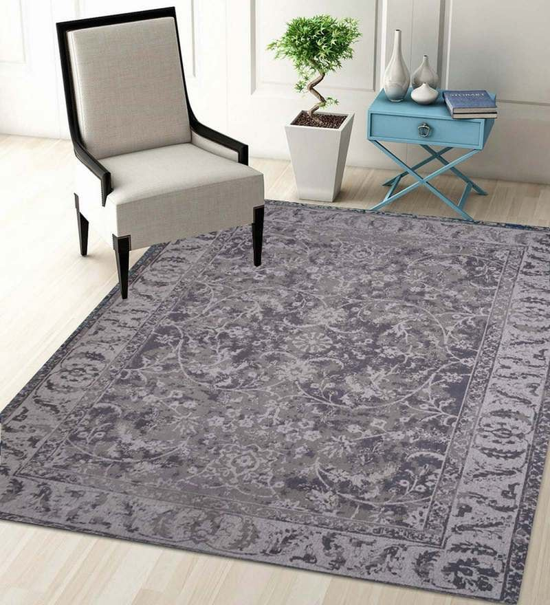 Grey Wool 90 x 63 Inch Carpet by Designs View