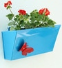 GI metal Wall Planter with Butterfly-Light Blue by Green Gardenia