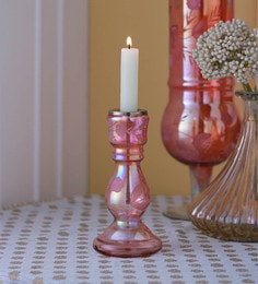 Gupta Glass Gallery Pink Glass With Etching & Colouring Candle Holder