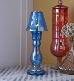 Gupta Glass Gallery Blue Glass With Etching & Colouring Candle Holder - 1593023