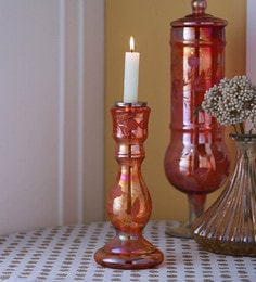 Gupta Glass Gallery Red Glass With Etching & Colouring Candle Holder