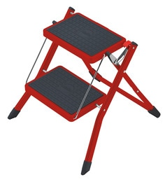 Hailo Mini Red Steel 2 Steps 1.9 FT Folding Ladder