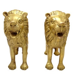 Handecor Antique Yellow Lion Pair Showpiece - Set Of 2