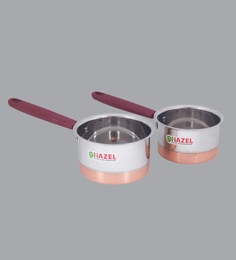 Hazel Alfa Premium Heavy Gauge Stainless Steel Flat Sauce Pan With Copper Bottom ,800 ML & 1100 ML - Set Of 2