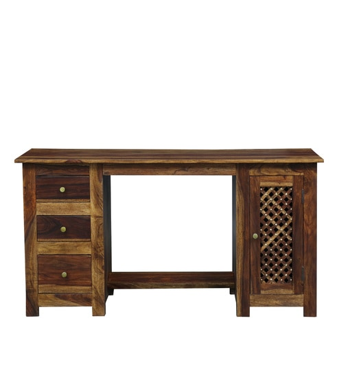 Buy Haveli Solid Wood Computer Table With Drawers In Provincial Teak