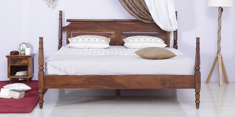 Harleston Poster Bed in Provincial Teak Finish by Amberville
