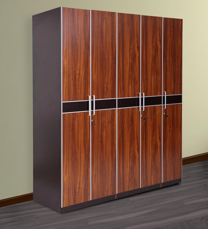 Buy marc five door wardrobe with drawer in oak finish by for Wardrobe door finishes