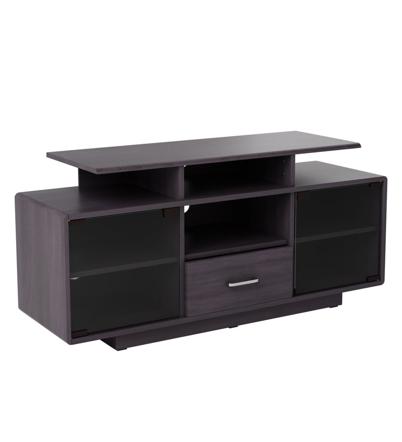 Buy Hamley Tv Unit With Glass Doors In Brown Finish By Glenco Online