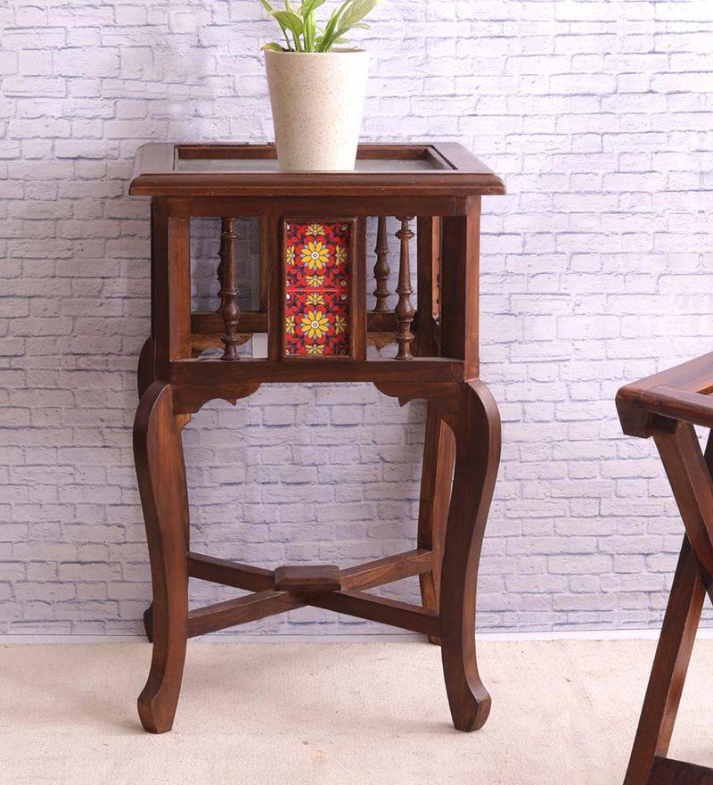 Hand Crafted Teak Wood Tiled Rajasthani End Table in Walnut Finish by VarEesha