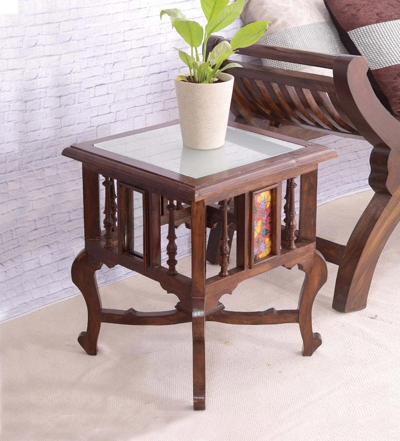 Hand Painted 18 Inch Teak Wood Tiled End Table in Walnut Finish by VarEesha