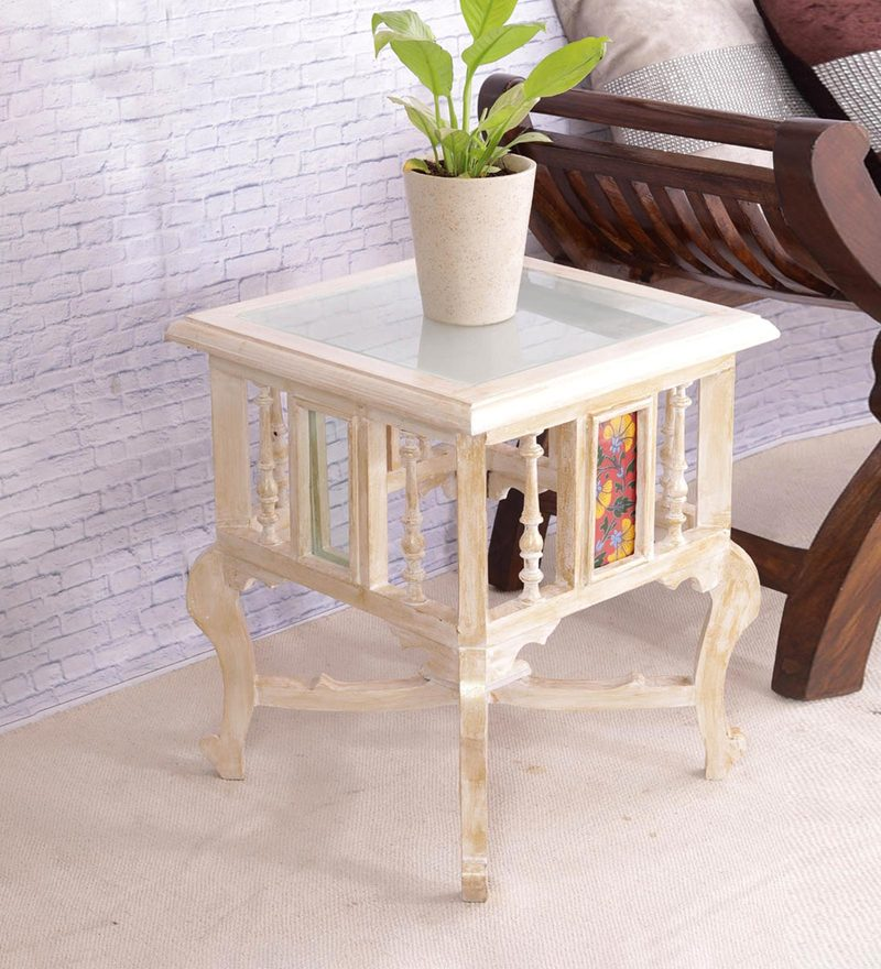 Hand Painted 18 Inch Tiled Teak Wood End Table in White & Gold Distress Finish by VarEesha