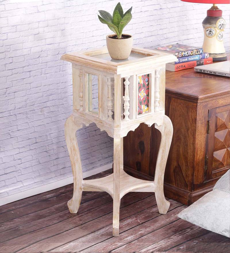 Hand Painted 24 Inch Tiled Teak Wood Table in White & Gold Distress Finish by VarEesha