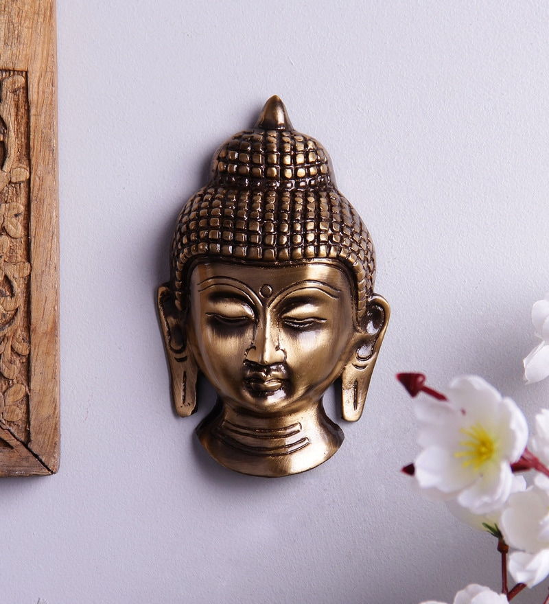 Antique Brown Brass Buddha Face Wall Hanging Showpiece by Handecor