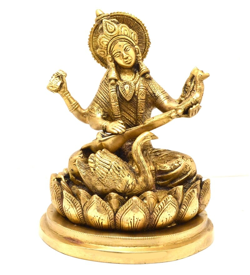 Antique Yellow Goddess Saraswati Idol by Handecor