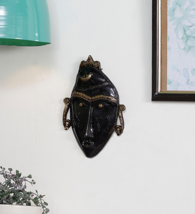 Black Brass Tribal Man Mask by Handecor