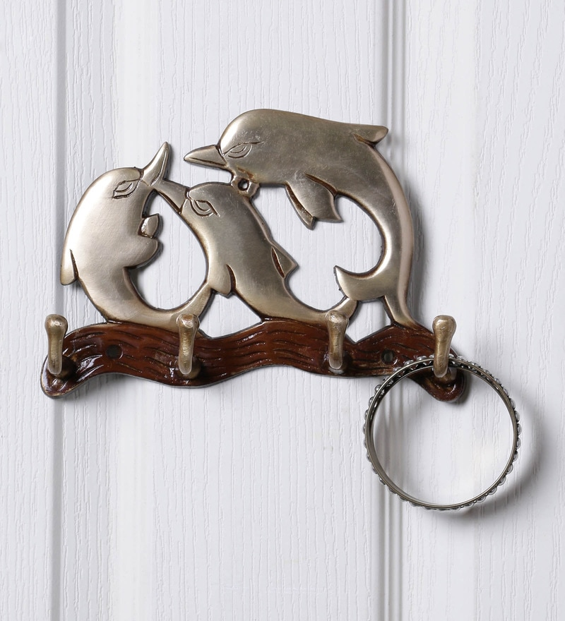 Multicolour Brass Dolphin Family Key Holder by Handecor