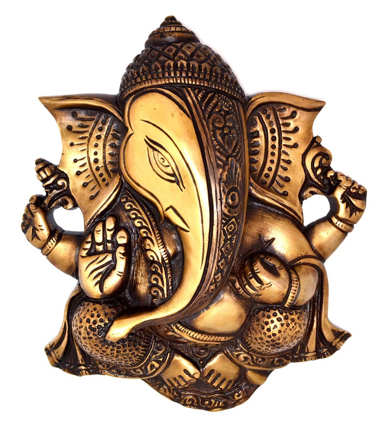 Buy Multicolour Brass Ganesha Wall Hanging Idol By