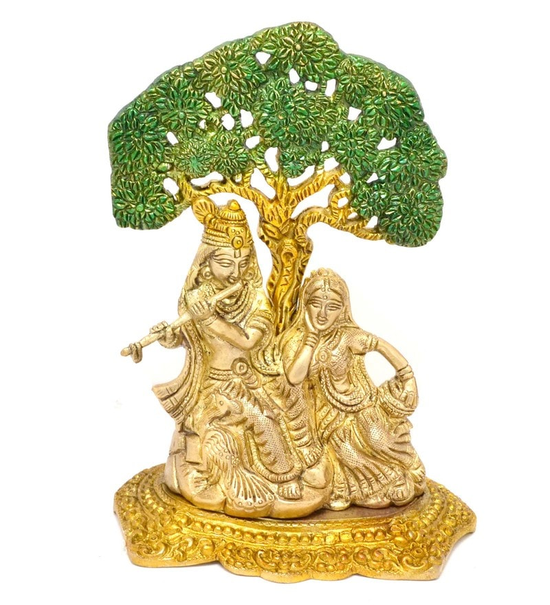 Multicolour Radha Krishna Under Tree Premium Showpiece by Handecor