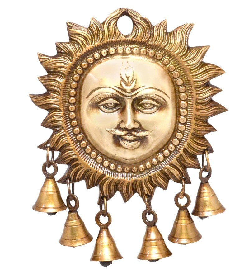 Royal Bronze Smiling Sun Wall Hanging with Bells by Handecor
