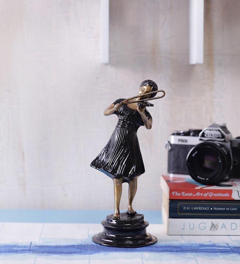Black Brass Violin Girl Showpiece by Handecor