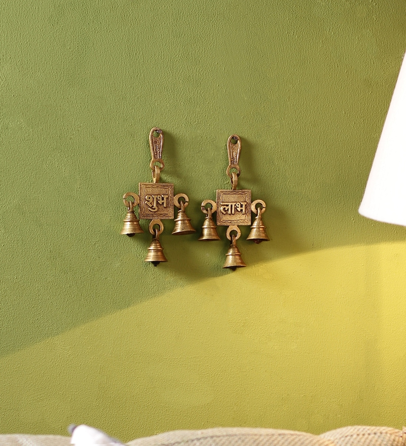 Yellow Brass Shubh Labh Hanging Bells Set by Handecor