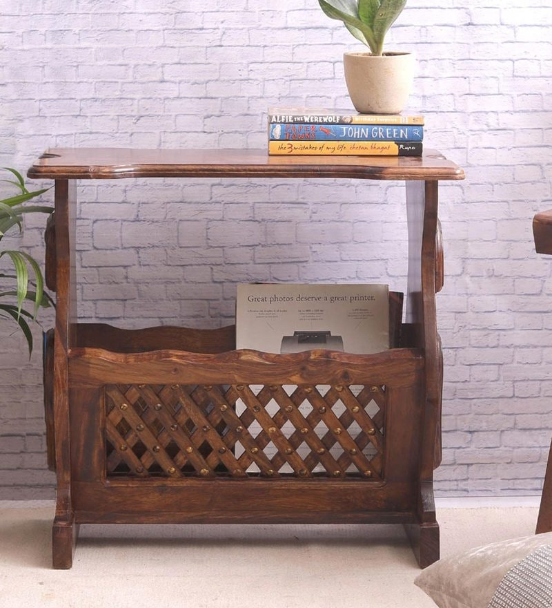 Handmade Sheesham Wood End Table cum Magazine Holder by VarEesha