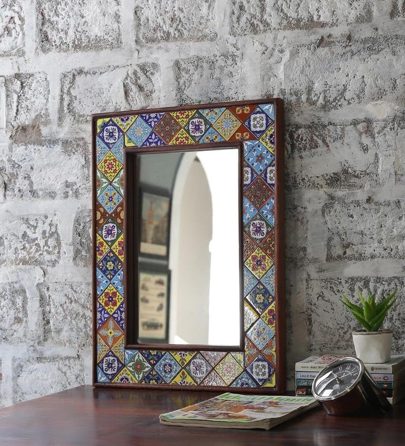 Multicolour Solid Wood & Tile Carved Framed Decorative Mirror by Hanumant