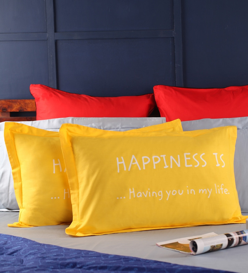 Happiness Pillow Cover in Yellow Colour by Portico New York