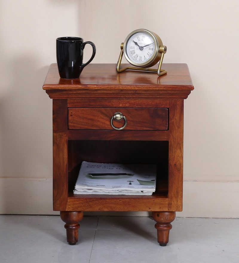 Harleston Bed Side Table in Honey Oak Finish by Amberville