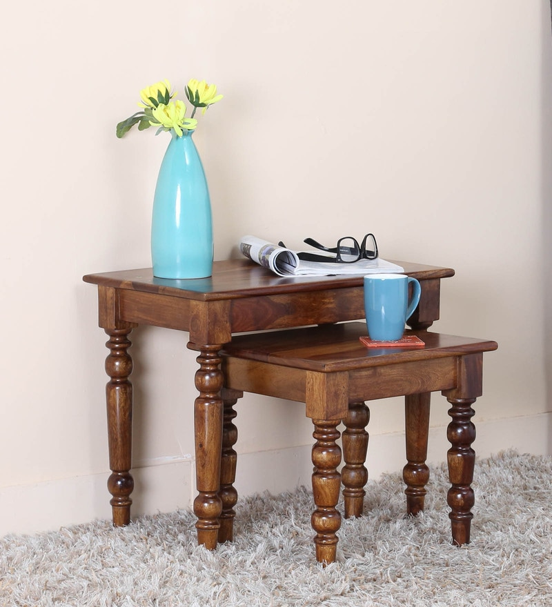 Harleston Set Of Tables in Provincial Teak Finish by Amberville