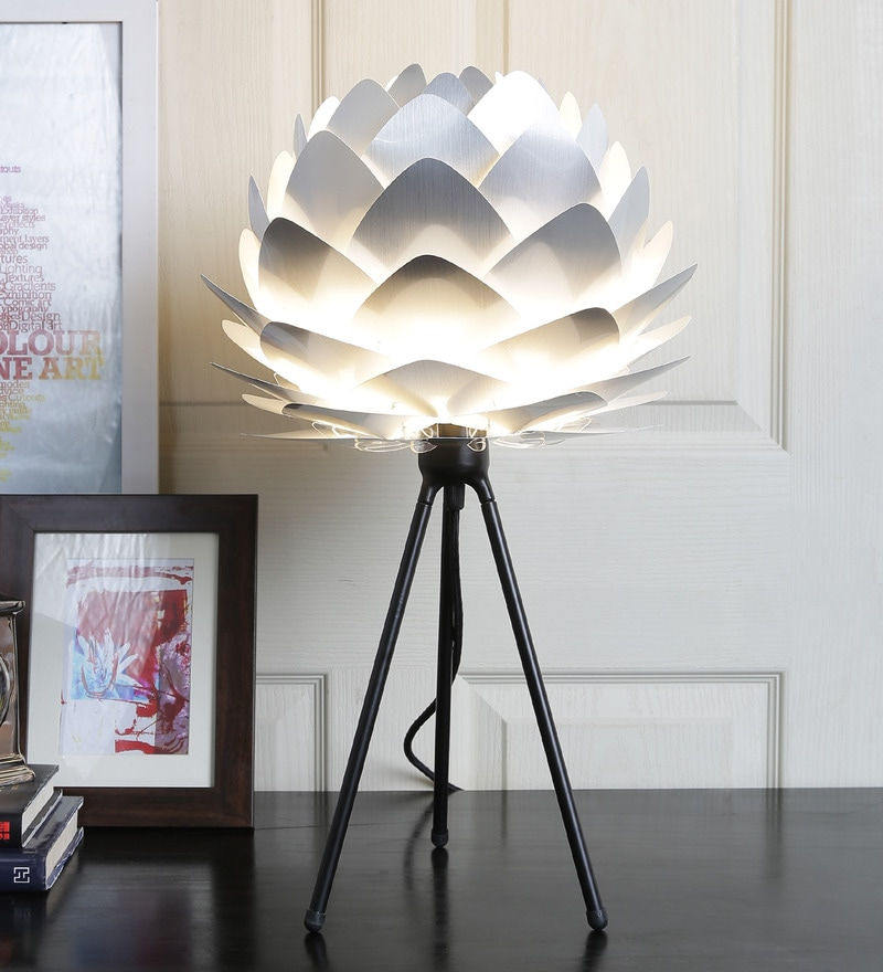 Cocoon Silver Table Lamp by Ekko