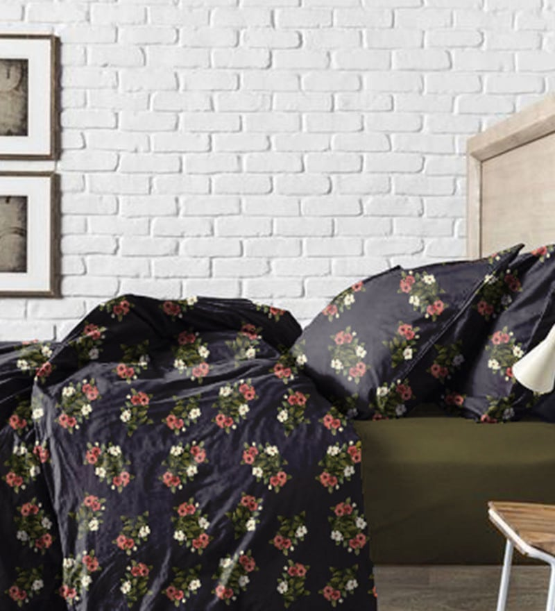 Green and Black Cotton Bed in a Bag Bedding Set by Haus and Sie