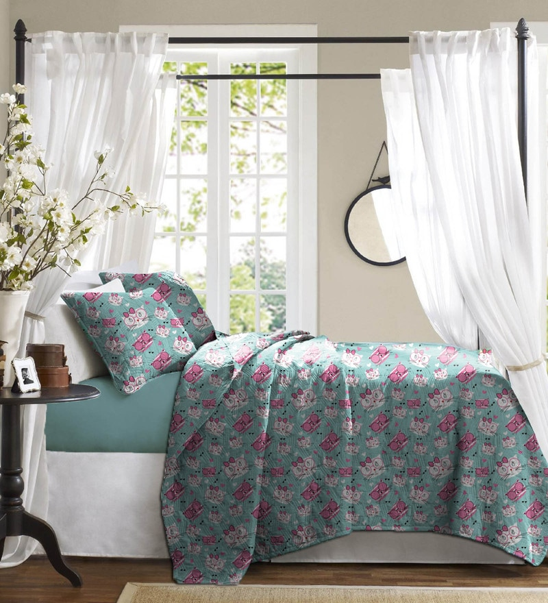 Light Blue Cotton Bed in a Bag Bedding Set by Haus and Sie