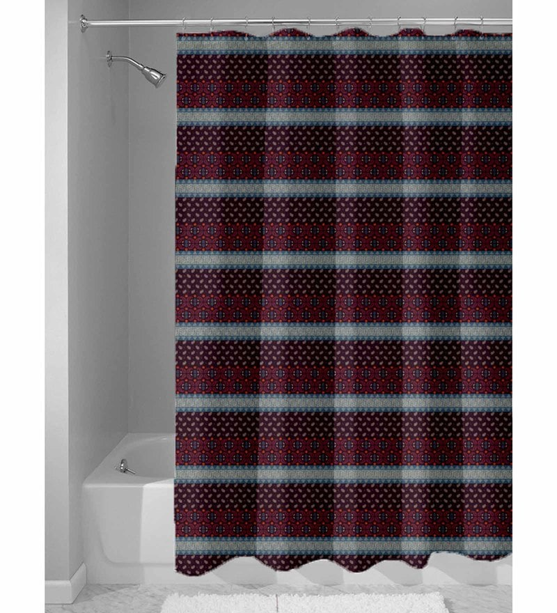 Maroon Nylon 84 x 48 Inch Shower Curtain by Haus and Sie