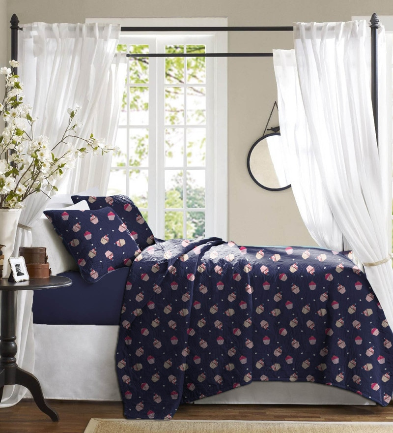 Navy Blue Cotton Bed in a Bag Bedding Set by Haus and Sie