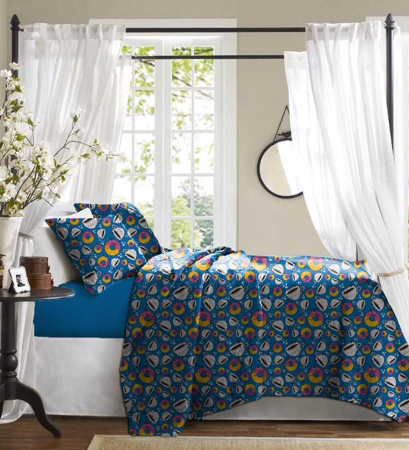 Royal Blue Cotton Bed in a Bag Bedding Set by Haus and Sie
