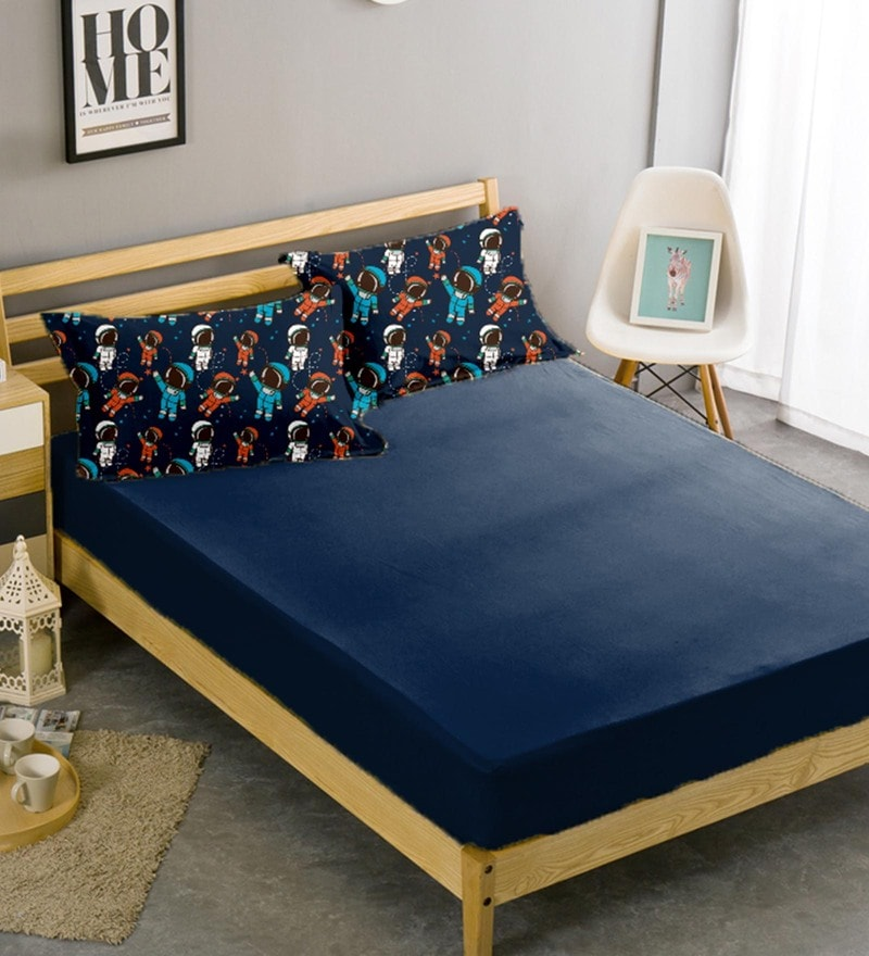 Navy Blue Cotton 96 x 108 Inch Queen Bed Sheet with Pillow Cover by Haus and Sie