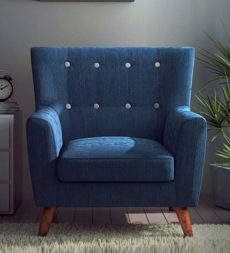 Havana One Seater Sofa in Oxford Blue Colour by CasaCraft