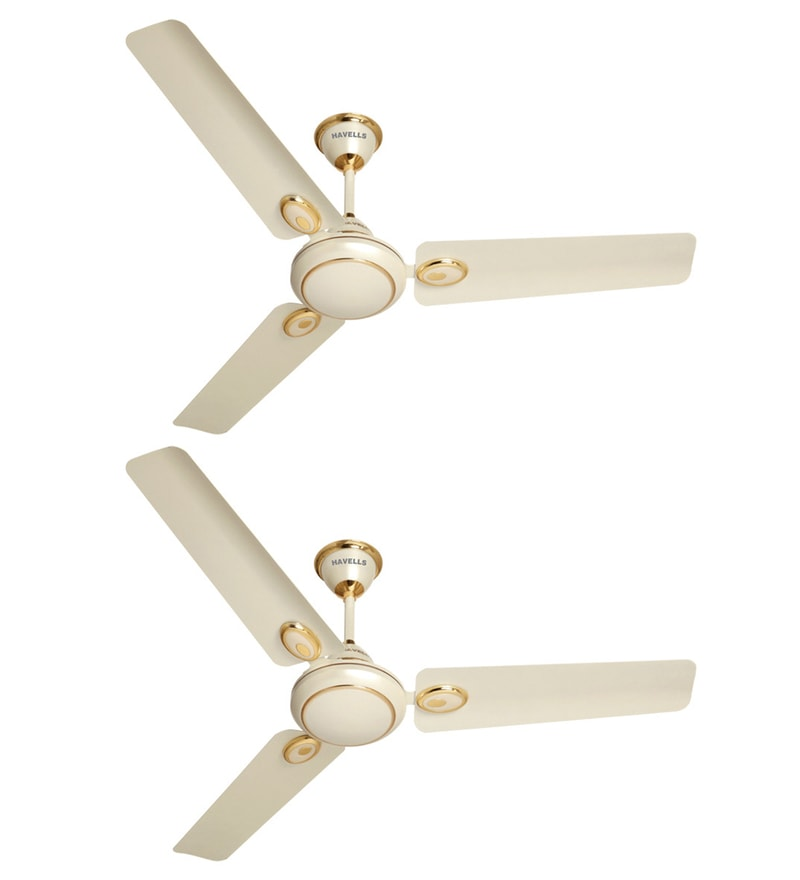 Havells Fusion Five Star 1200 mm Pearl Ivory Ceiling Fans - Set of 2