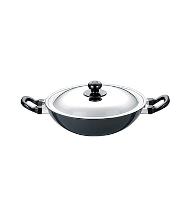 Futura Non-Stick Hard Anodized 2.5 L Kadai with Steel Lid by Hawkins