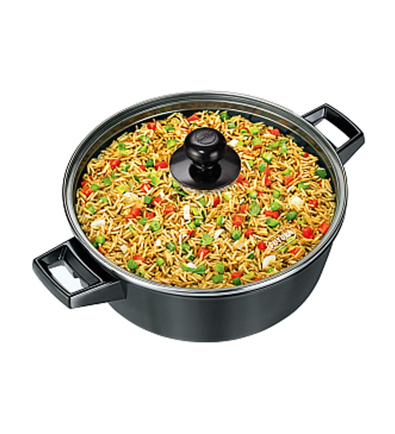 Cook N Serve Hard Anodized 3 L Non-Stick Serving Bowl with Glass Lid by Hawkins